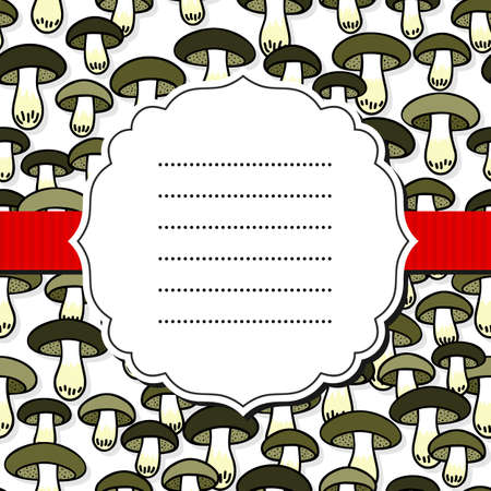 Green gray edible mushrooms autumn seasonal seamless pattern on white background with retro frame and red ribbon Vector