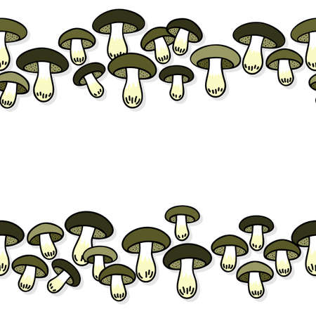 edible: Green gray edible mushrooms autumn seasonal seamless double horizontal border on white background