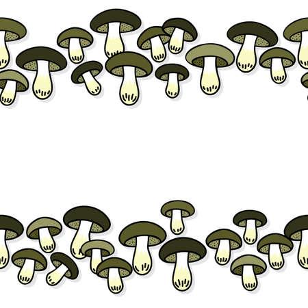 Green gray edible mushrooms autumn seasonal seamless double horizontal border on white background