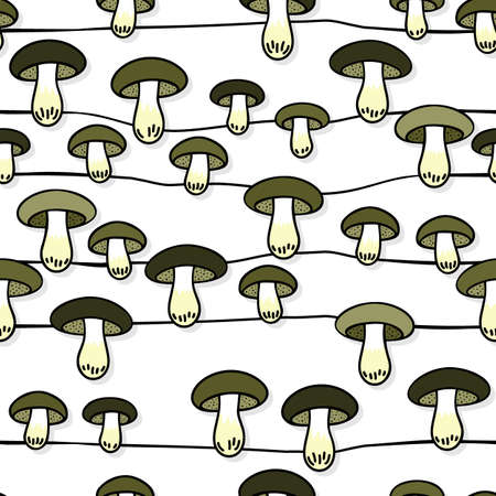 edible: Green gray edible mushrooms autumn seasonal seamless pattern with horizontal lines on white background