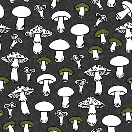 undergrowth: Different mushroom types monochrome seamless pattern with green elements on dark background