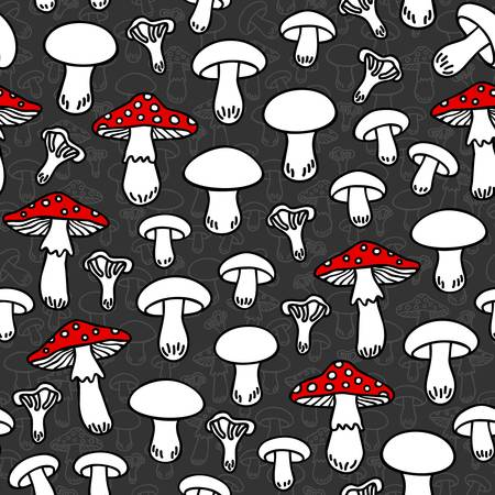 undergrowth: Different mushroom types monochrome seamless pattern with red elements on dark background Illustration