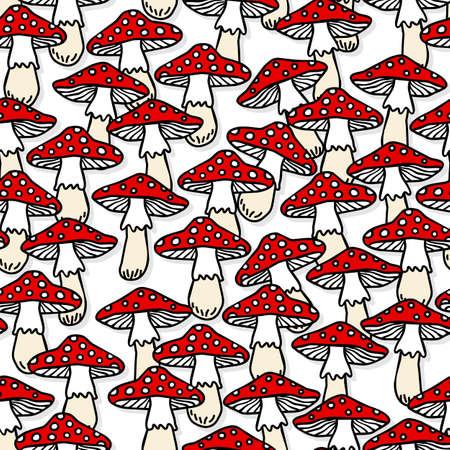 Toadstool mushrooms white beige red autumn seasonal seamless pattern on white background Vector