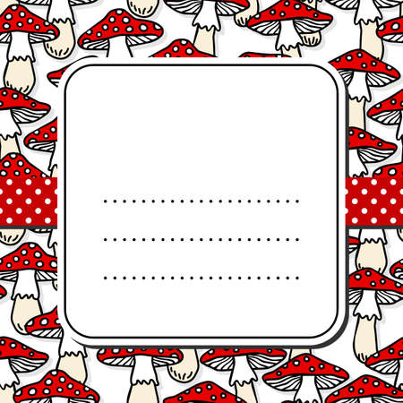 undergrowth: Toadstool mushrooms white beige red autumn seamless pattern on white background with retro frame on red dotted ribbon seasonal card