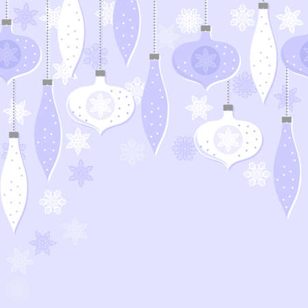 Delicate white blue glass balls and lace snowflakes winter holiday seamless horizontal border on light blue background Vector