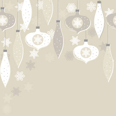 Delicate white beige glass balls and lace snowflakes winter holiday seamless horizontal border on light background Vector