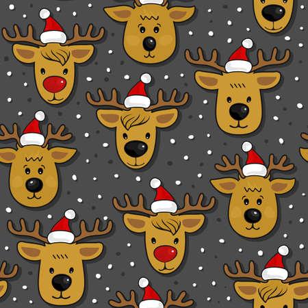 fond sombre: Rennes � Santa Claus chapeaux d�sordre vacances d'hiver de No�l pattern sur fond sombre