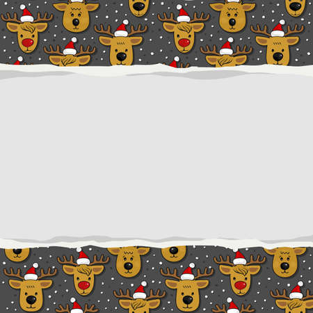 your text: Reindeers in Santa Claus hats messy Christmas winter holidays seamless pattern on dark background with blank torn paper with place for your text horizontal border