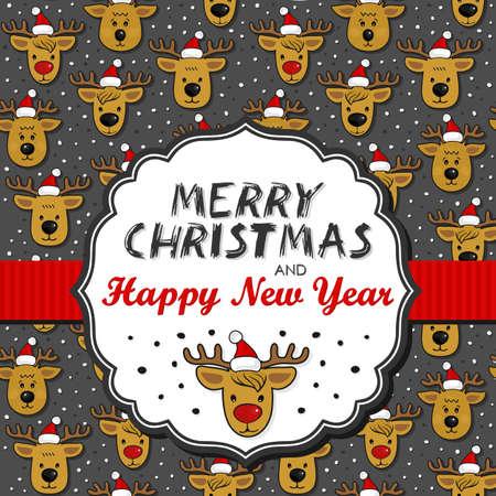 fond sombre: Rennes � Santa Claus chapeaux d�sordre vacances d'hiver de No�l Seamless sur fond fonc� avec en forme de cadre r�tro et le ruban de No�l souhaite en anglais