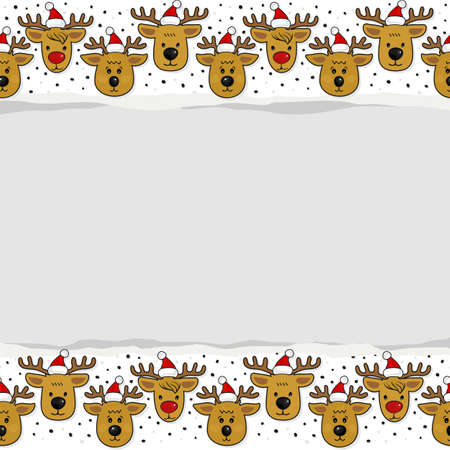 your text: Reindeers in Santa Claus hats in regular rows Christmas winter holidays seamless pattern on white background with blank torn paper with place for your text horizontal border