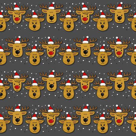 Reindeers in Santa Claus hats in regular horizontal rows Christmas winter holidays seamless pattern on dark background Vector