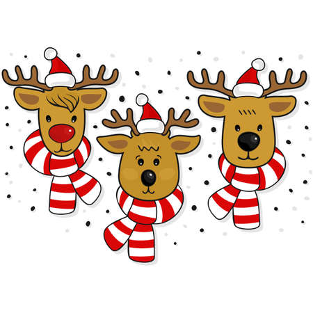Reindeer faces in Santa Claus hats and scarfs Christmas winter holidays seamless horizontal border isolated on white background Vector