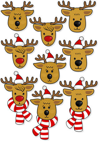 Reindeer faces, in Santa Claus hats and in hats and scarfs Christmas winter holidays animal set isolated on white background