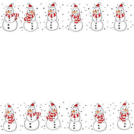 Snowmen in Santa Claus hats Christmas winter holidays seamless double horizontal border on white background