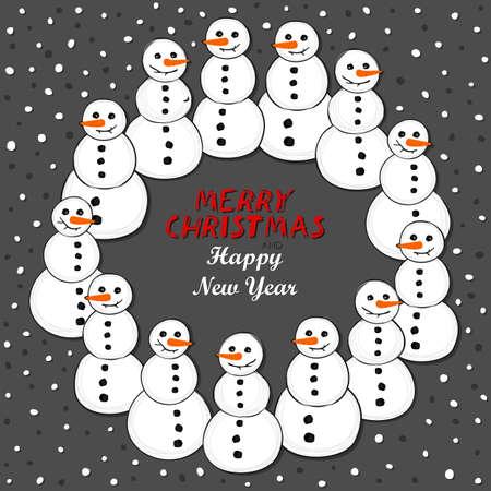 fond sombre: Bonhommes de neige Happy Christmas Wreath vacances d'hiver illustration de carte avec les souhaits en anglais sur fond sombre