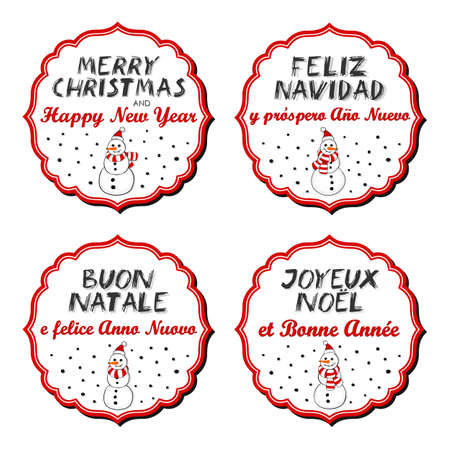 italian tradition: Snowmen in Santa Claus hats Christmas with vintage frame and Christmas wishes in English French Spanish Italian winter holidays sticker set isolated on white background