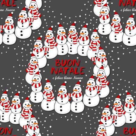 Happy snowmen in Santa Claus hats and striped scarfs wreath Christmas winter holiday illustration with Merry Christmas wishes in Italian on dark background seamless pattern Vector