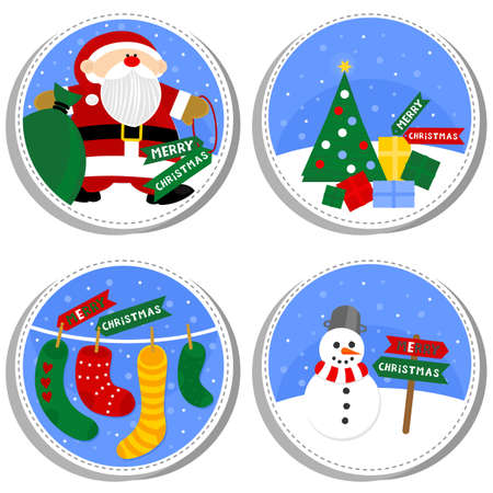 sewed: colorful winter holiday round shaped illustration set with Santa Claus Christmas tree gift socks and happy snowman with Merry Christmas wishes in English isolated on white background Illustration