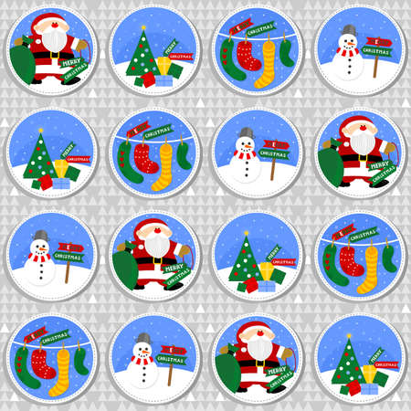 colorful winter holiday round shaped illustration with Santa Claus Christmas tree gift socks and happy snowman with Merry Christmas wishes in English seamless pattern on gray background Vector