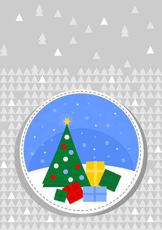 christams: colorful winter holiday round shaped illustration with decorated Christmas tree and gift boxes on gray patterned background Christmas card