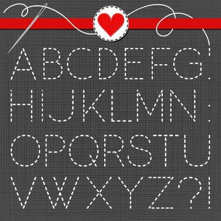 sewed: big white sewed letter set on dark background
