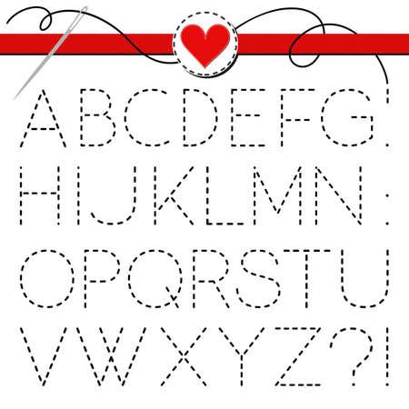sewed: big dark sewed letter set isolated on white background