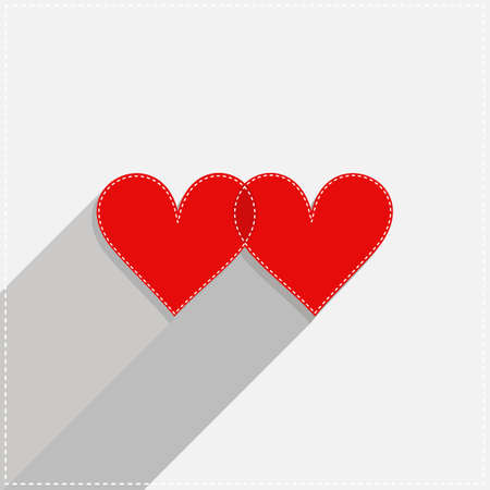 sewed: red hearts lovely Valentines day card illustration on light gray background
