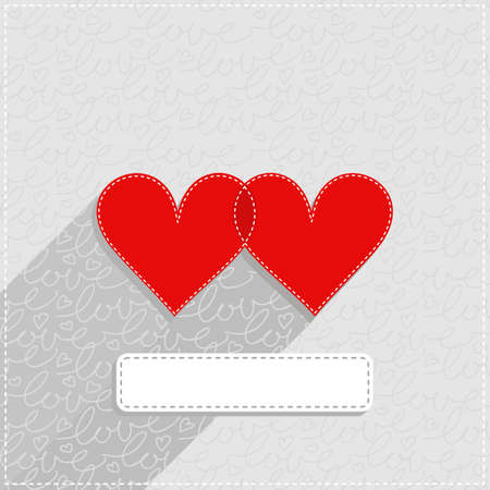 sewed: red hearts lovely Valentines day card illustration with blank frame on light gray patterned background Illustration