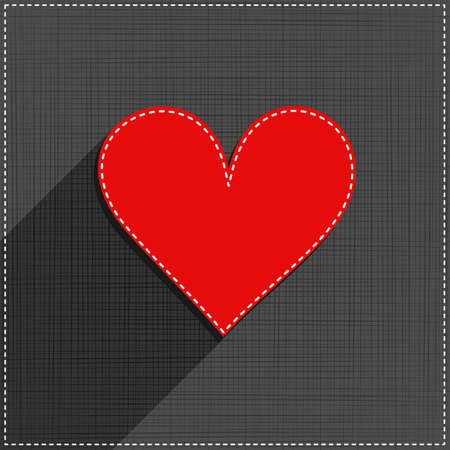 red heart sewed romantic Valentines Day card on gray background Vector
