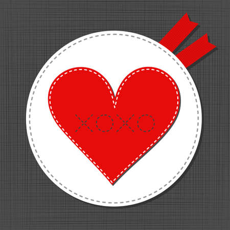 xoxo: big red lonely heart lovely sewed romantic Valentines Day card on gray background Illustration