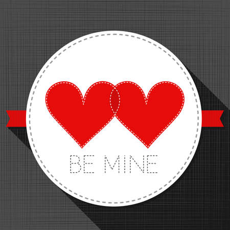 be mine: be mine red hearts in love lovely sewed romantic Valentines Day card on gray background Illustration