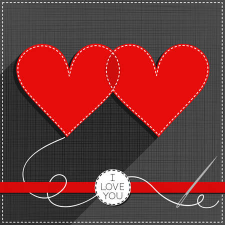 sewed: two hearts in love lovely sewed romantic Valentines Day card on gray background with red ribbon and I love you badge