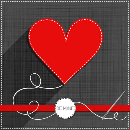 sewed: red heart sewed romantic Valentines Day card on gray background with red ribbon and be mine badge Illustration