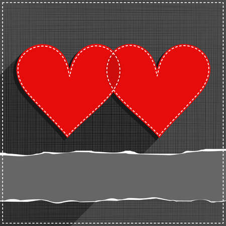 sewed: two hearts in love lovely sewed romantic Valentines Day card on gray background with torn paper with place for your text