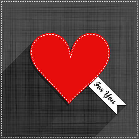 sewed: red heart for you sewed romantic Valentines Day card on gray background