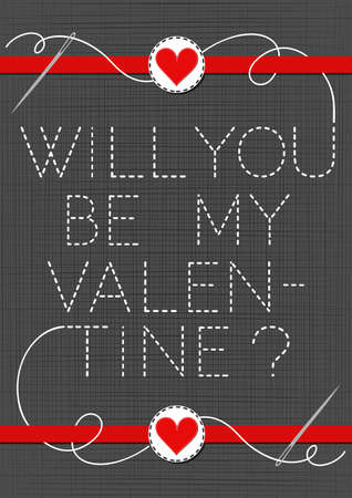 sewed: will you be my valentine lovely sewed romantic Valentines Day card on gray background