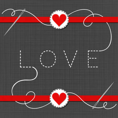 love lovely sewed romantic Valentines Day card on gray background Vector