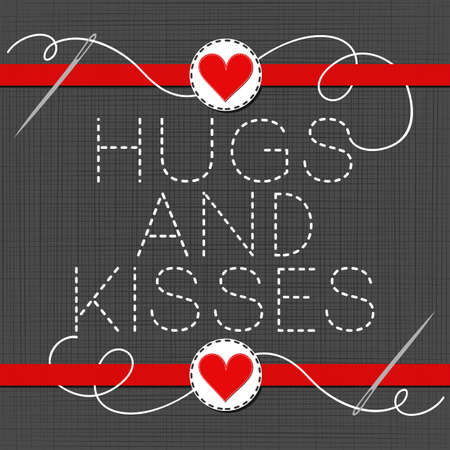 sewed: hugs and kisses lovely sewed romantic Valentines Day card on gray background
