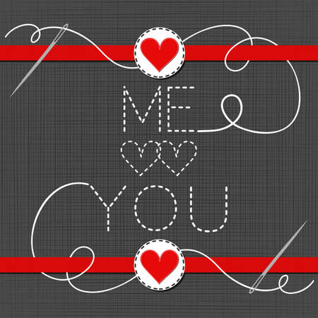 sewed: me hearts you lovely sewed romantic Valentines Day card on gray background