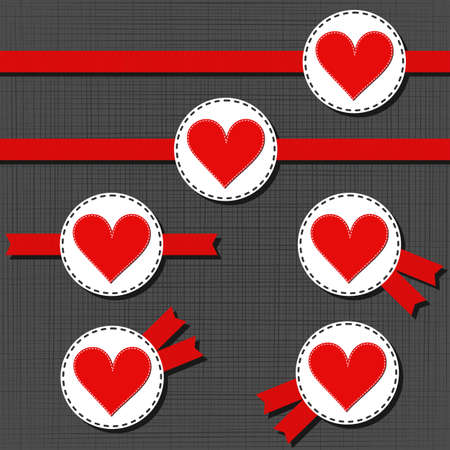 white sewed big red heart label Valentines Day badge set with red ribbon on dark background Vector