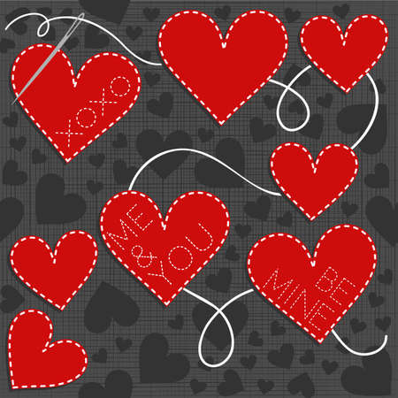 sewed: lovely sewed romantic Valentines Day seamless pattern with embroidered text on gray background