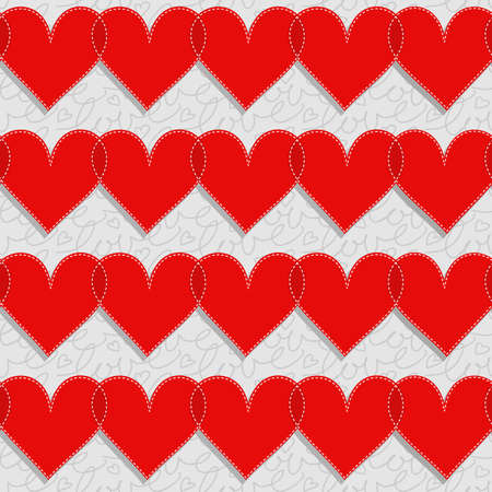 sewed: red hearts lovely Valentines day seamless pattern on light gray patterned background