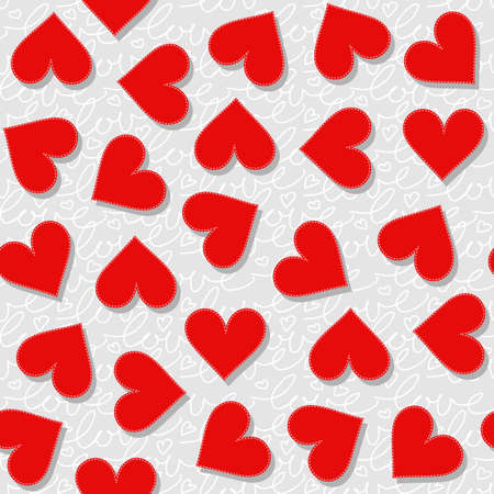 sewed: red messy hearts lovely Valentines day seamless pattern on light gray patterned background Illustration