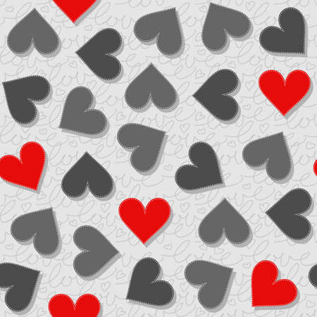 sewed: red and gray messy hearts lovely Valentines day seamless pattern on light gray patterned background