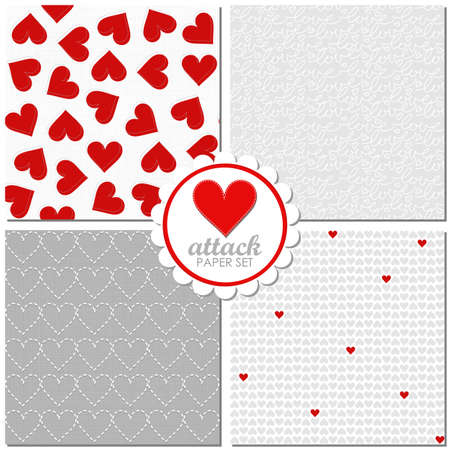 heart attack: heart attack lovely romantic red gray white Valentines Day seamless pattern set Illustration