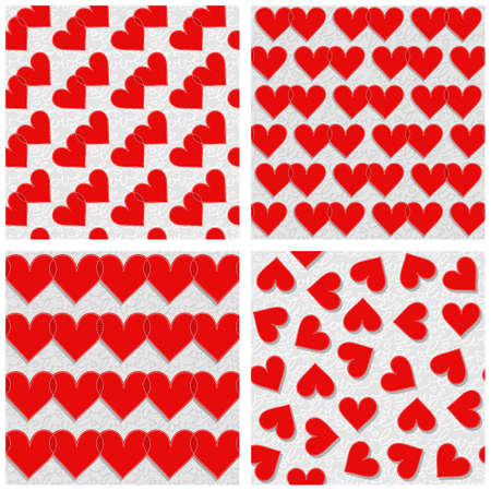 mess: red hearts rows couples mess lovely romantic red gray white Valentines Day seamless pattern set