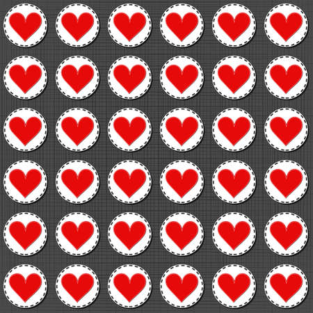 sewed: big red lonely heart badges lovely sewed romantic Valentines Day seamless pattern on gray background