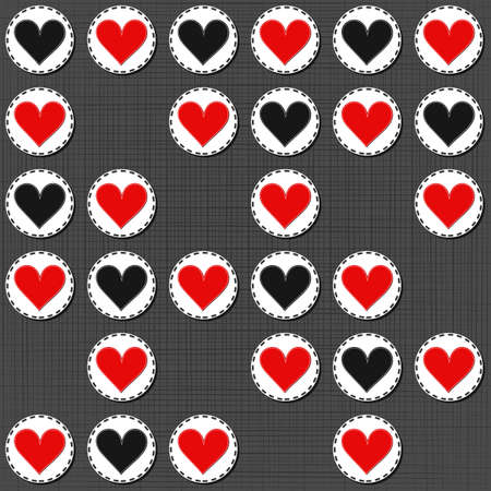 sewed: big red gray lonely heart badges lovely sewed romantic Valentines Day seamless pattern on gray background