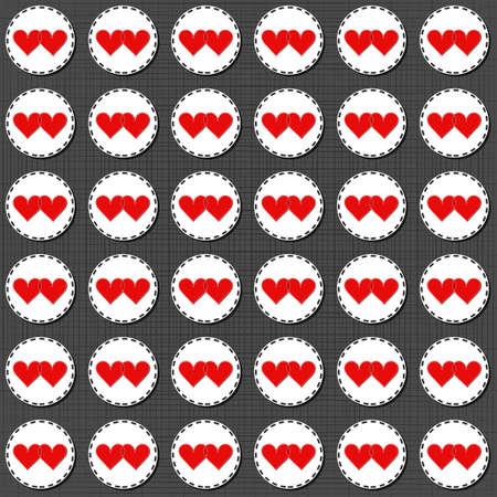 sewed: two hearts badges lovely sewed romantic Valentines Day seamless pattern on gray background Illustration