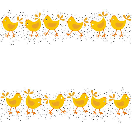 christian young: little yellow chickens Easter spring holidays themed double horizontal border isolated on white background